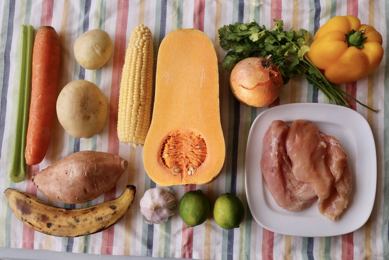 Ingredients you'll need to make our traditional Cuban Soup with chicken.