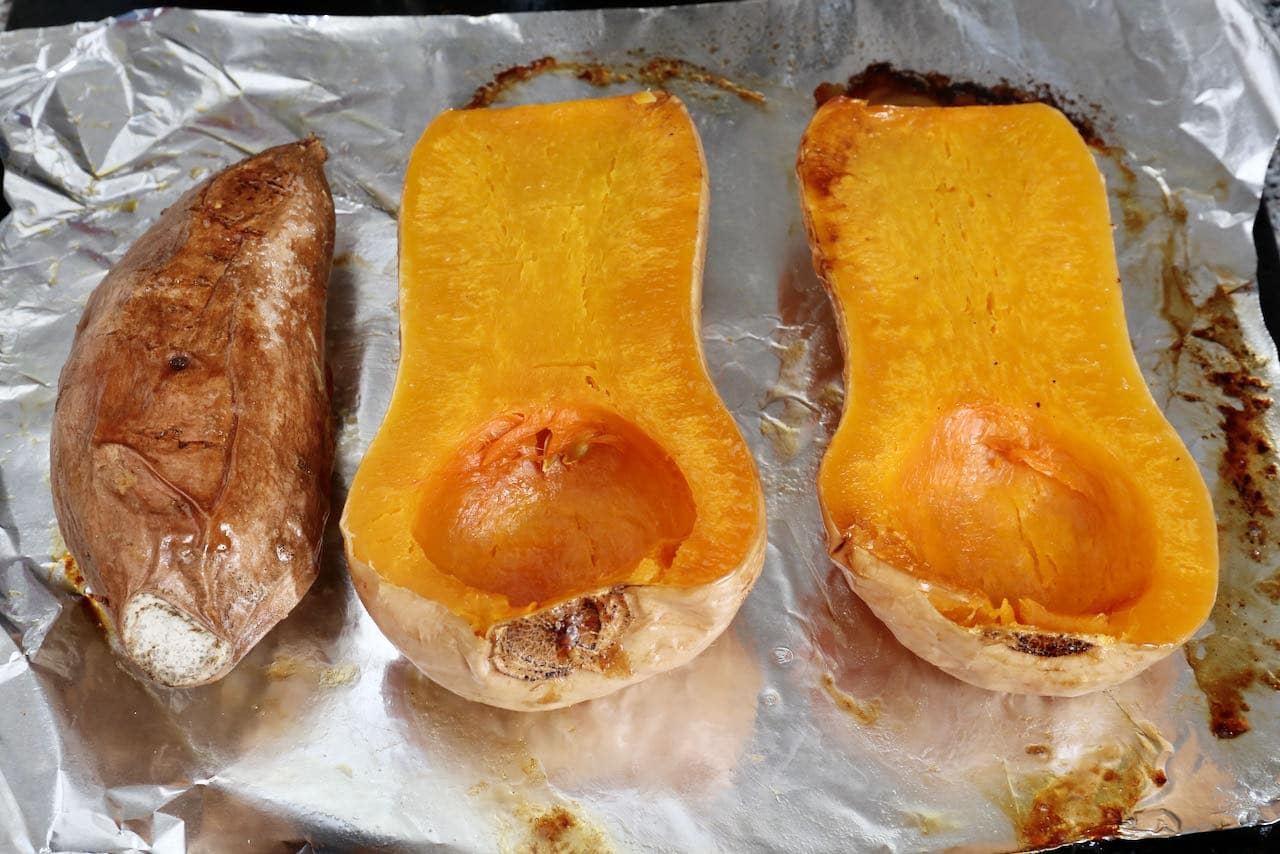 Roast sweet potato and pumpkin in the oven until tender.