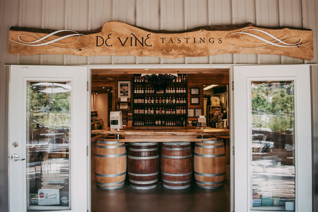 Enjoy a Vancouver Island wine tasting at De Vine Vineyards near Victoria.