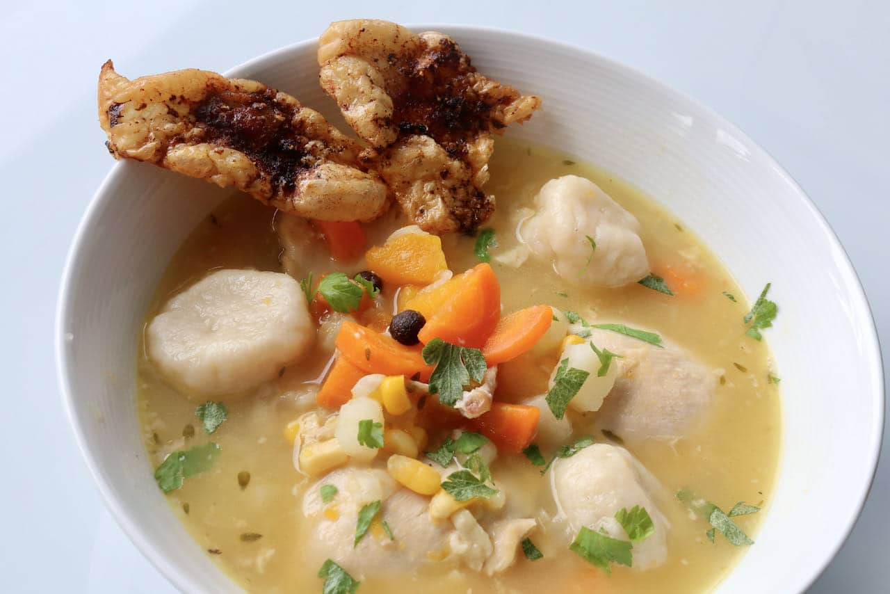 Jamaican Chicken Soup with Dumplings.
