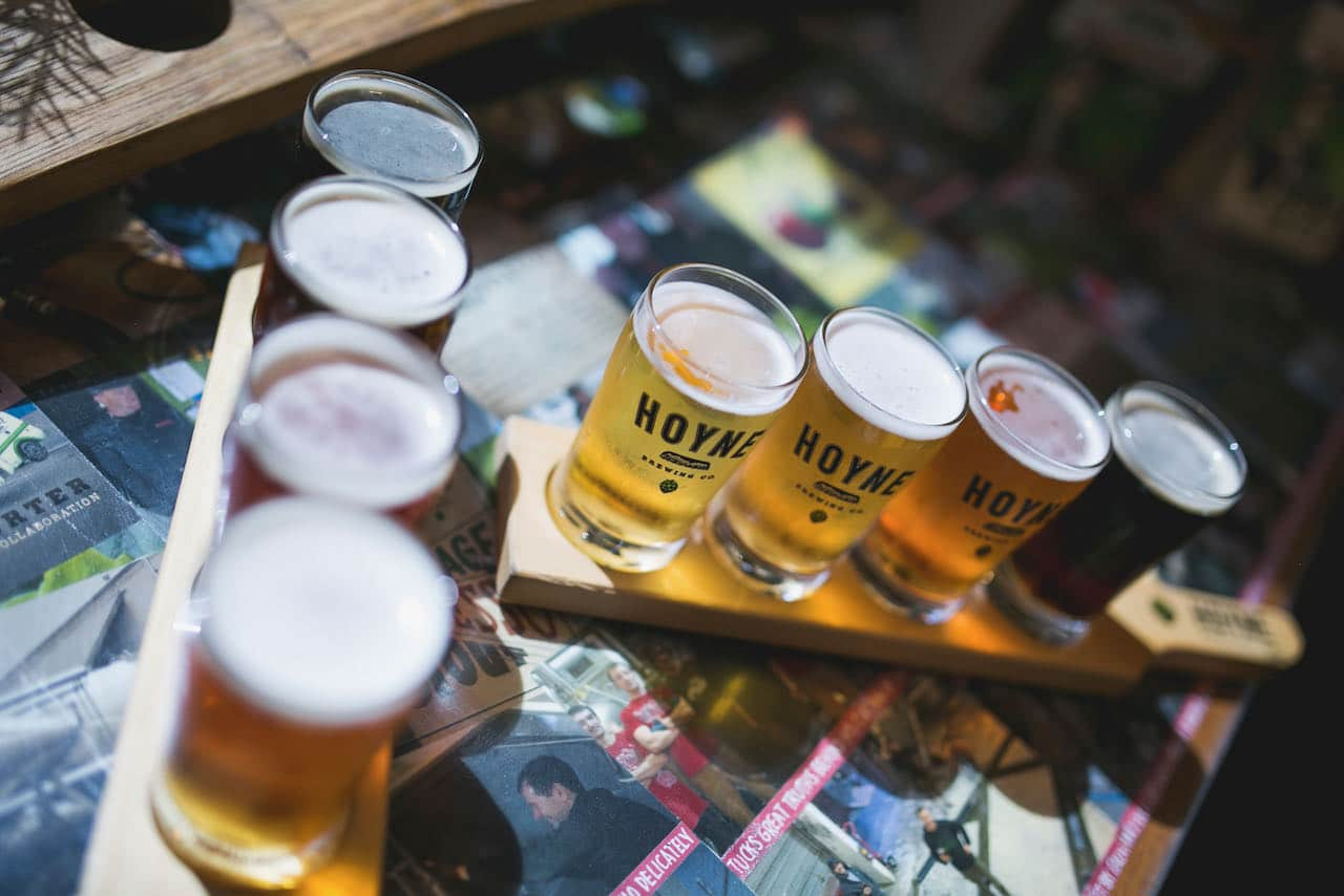 Victoria Breweries: Craft beer flight at Hoyne Brewing.