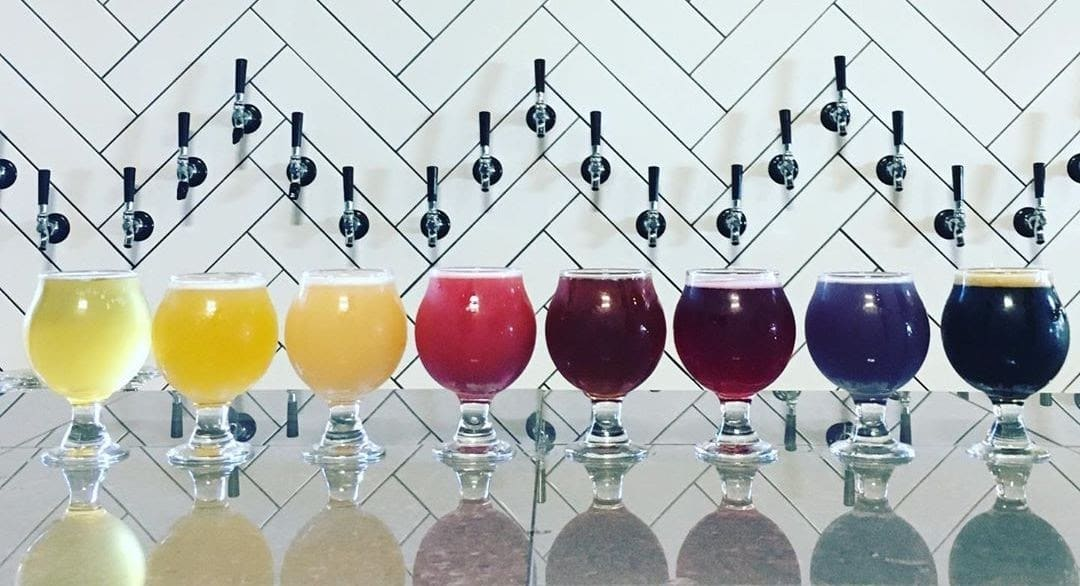 Colourful craft beers offered at Ile Sauvage Brewing's tap room in Victoria, BC.