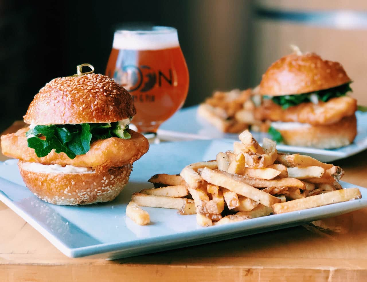 Enjoy lunch or dinner with a fresh pint at Moon Under Water Brewery.