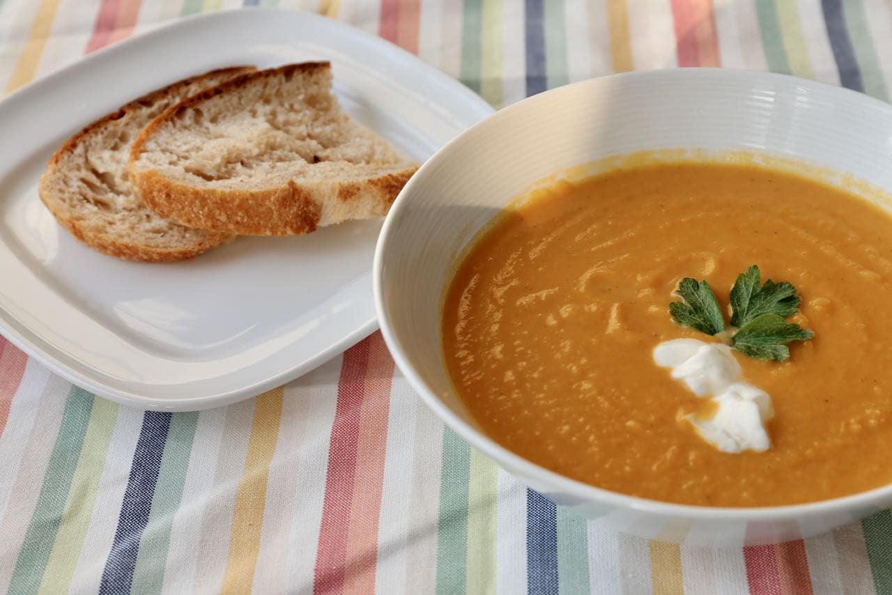Healthy Roasted Pumpkin and Sweet Potato Soup Recipe