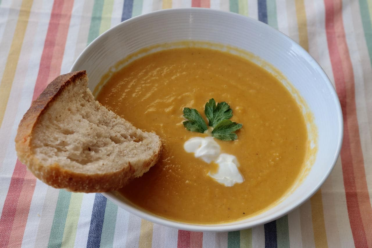 Healthy Pumpkin and Sweet Potato Soup is a quick & easy meal idea.
