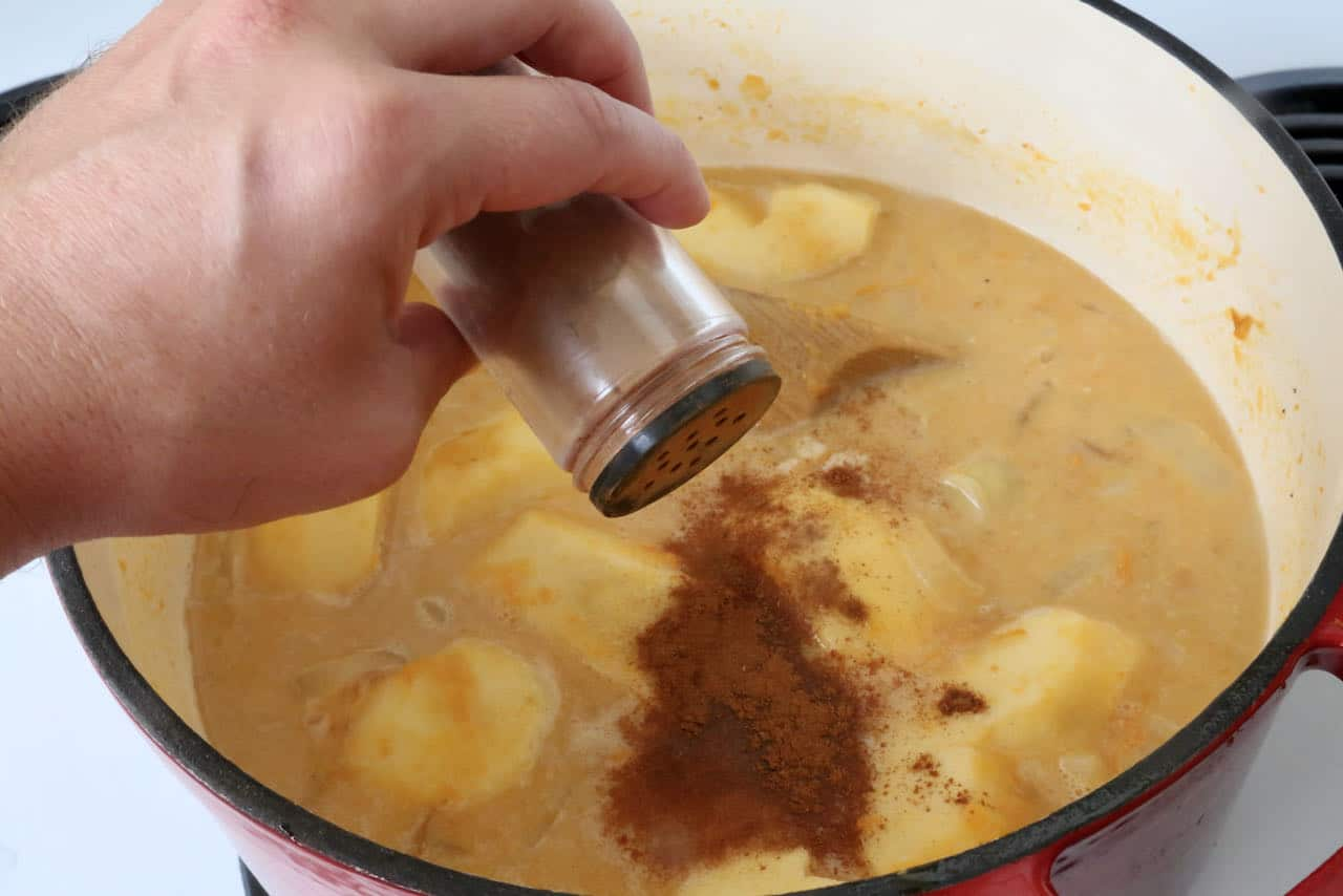 Add spices like cinnamon, nutmeg and mace to Pumpkin and Sweet Potato Soup.