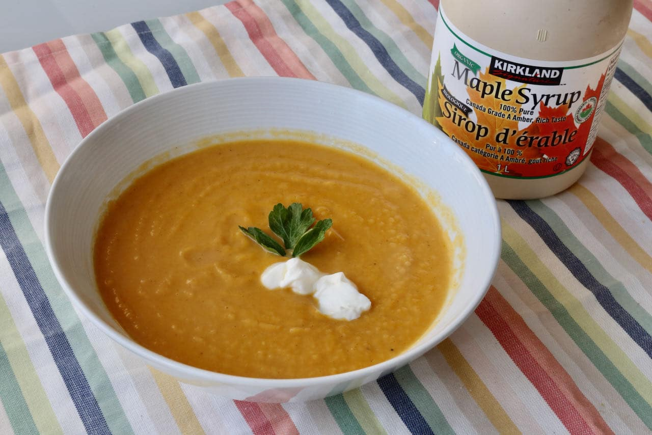 Sweeten your Pumpkin and Sweet Potato Soup with honey and maple syrup.