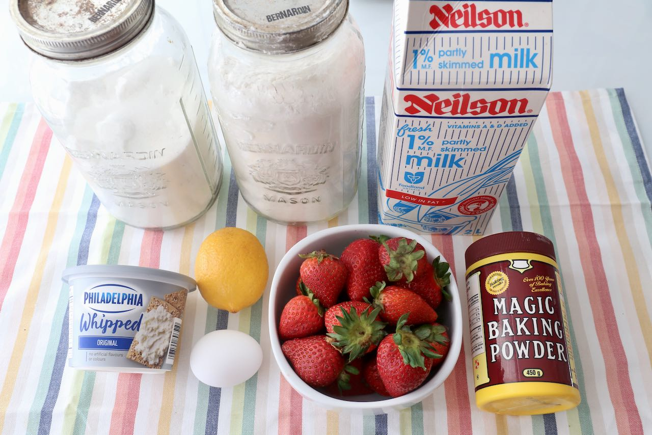 Ingredients you'll need to make easy homemade Strawberry Cream Cheese Muffins.
