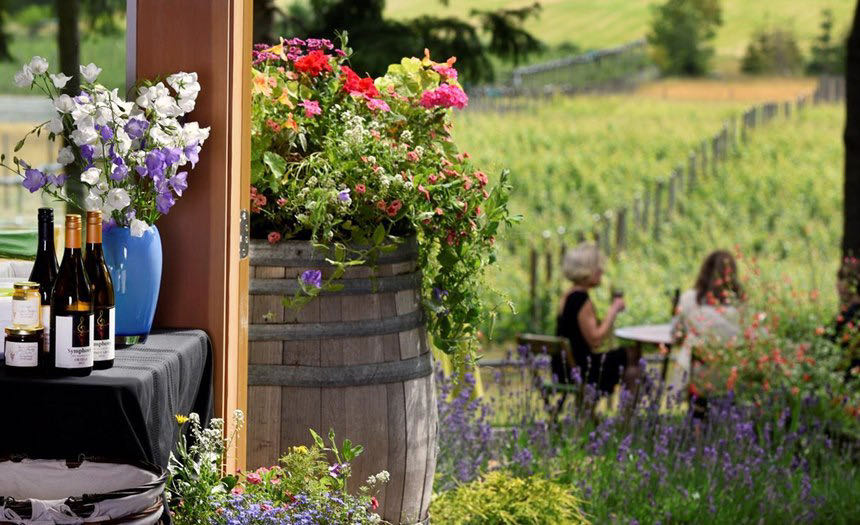 Symphony Vineyard offers an outdoor patio with beautiful views of Vancouver Island.