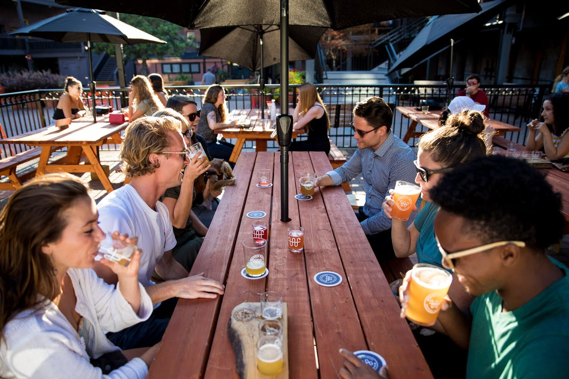Enjoy a craft beer tasting on the patio at Whistle Buoy Brewing.