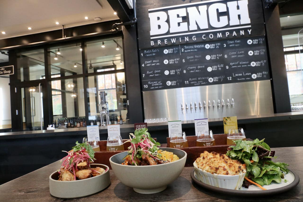 Bench Brewing offers a spacious patio, indoor dining room, beer bar and retail store in Beamsville.