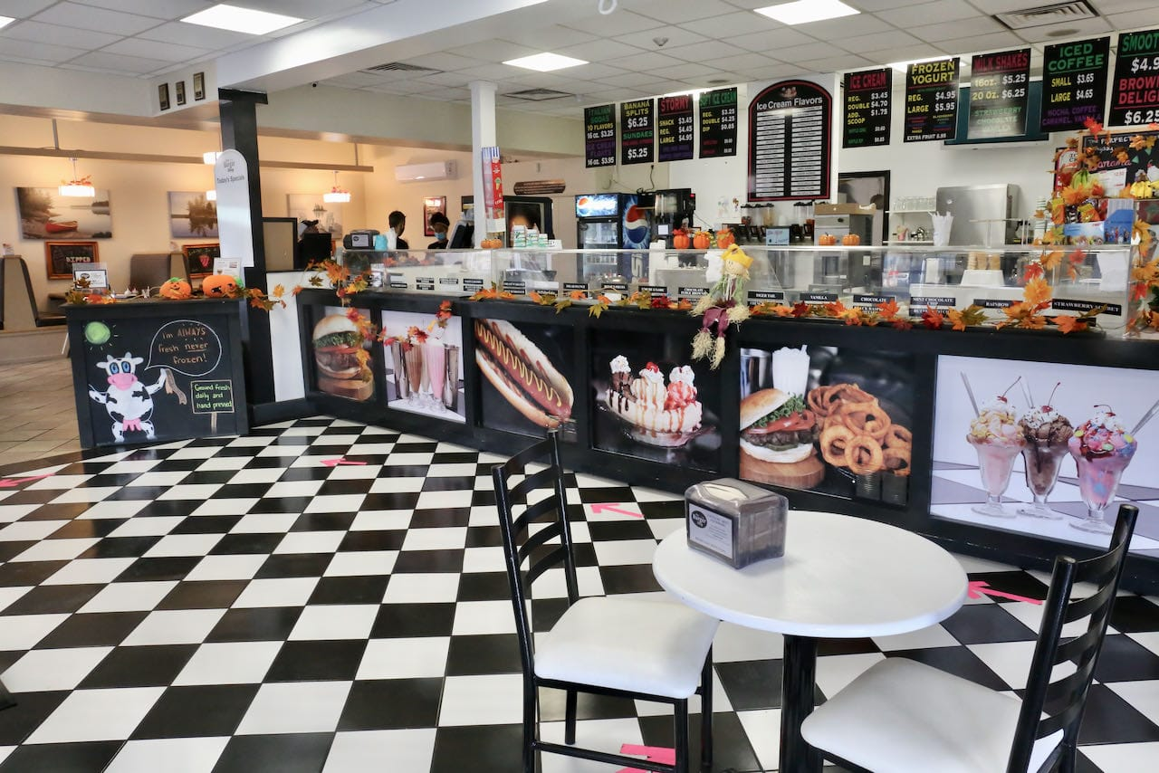 The Burger Shop is a classic ice cream parlour serving burgers and hot dogs.
