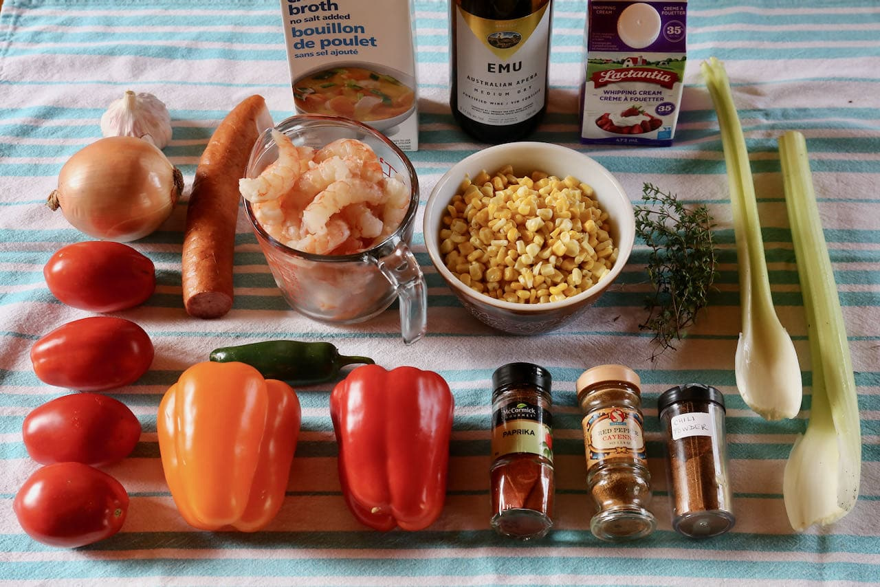 Ingredients you'll need to make our Cajun Louisiana Cream of Shrimp Soup recipe.