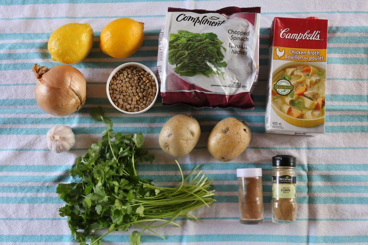 Ingredients you'll need to make lemon an easy Lebanese Lentil Soup recipe.