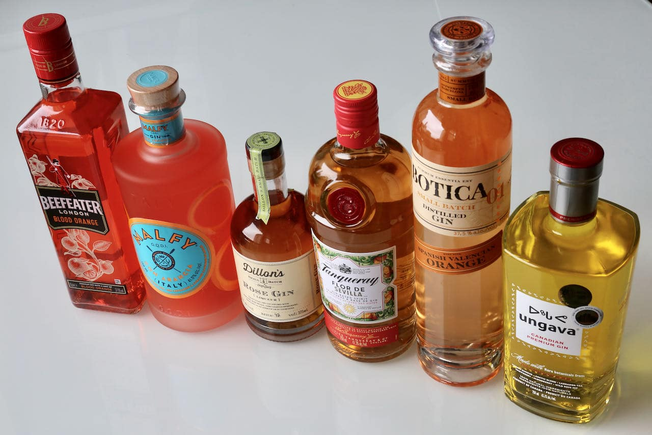 Orange and Yellow Gin ingredients.