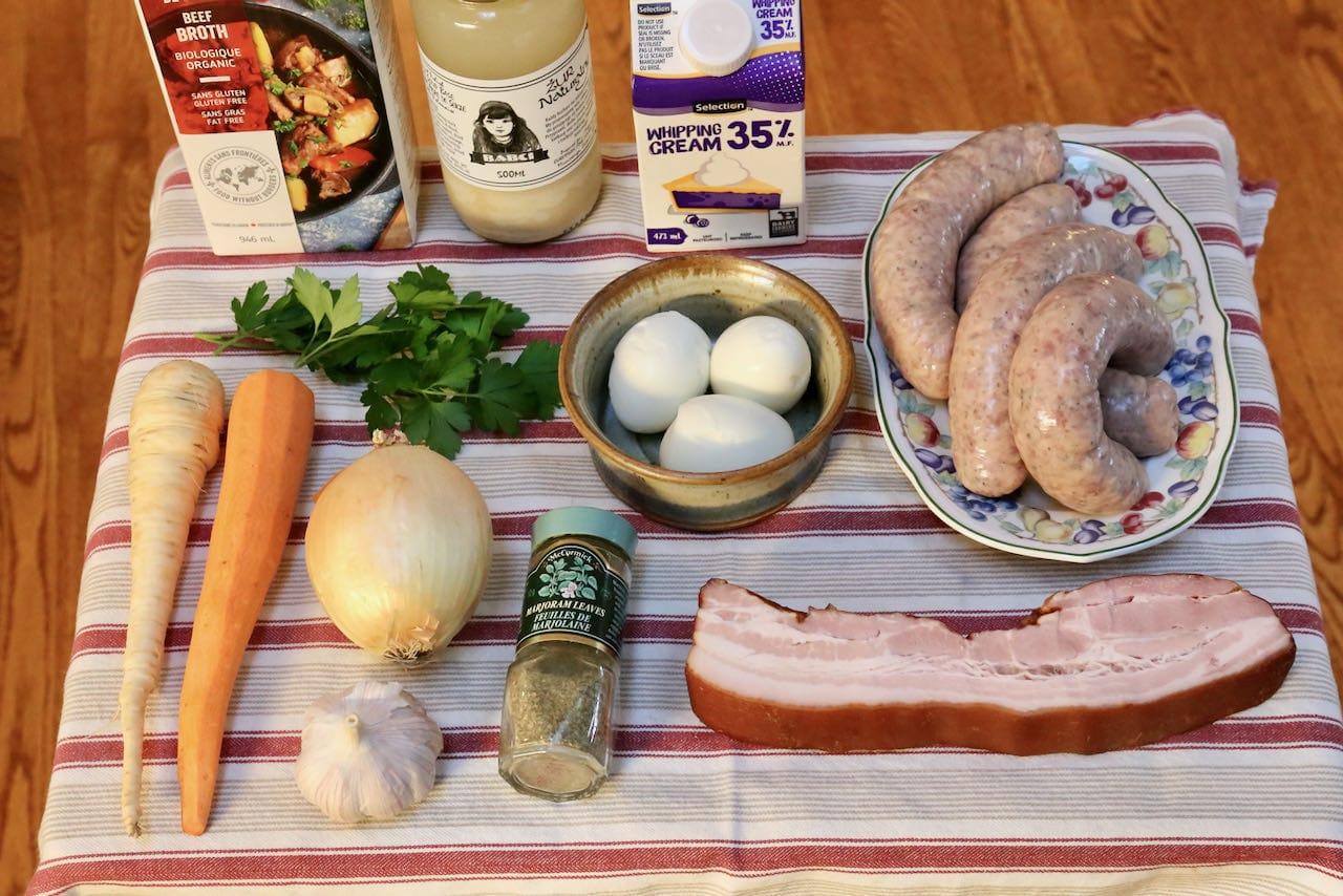 Ingredients you'll need to make homemade Polish Zurek Soup.