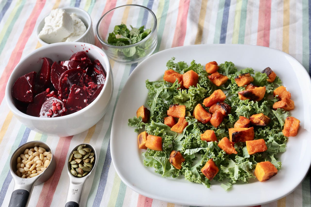 Host a fun DIY vegetarian dinner by allowing your guests to make their own Pumpkin Feta Salad.