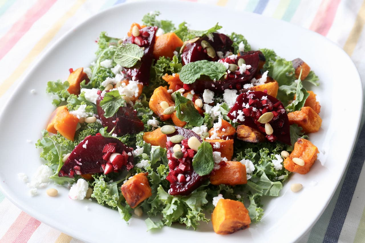 Vegetarian Roasted Pumpkin Feta Salad with Beetroot & Pine Nuts
