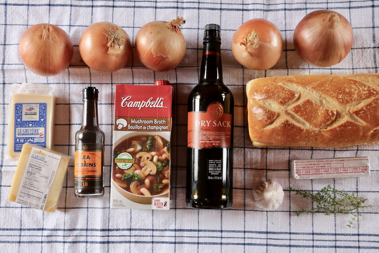 Ingredients you'll need to make our easy homemade Vegetarian French Onion Soup recipe.