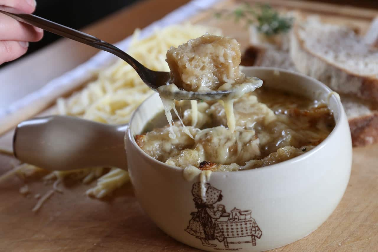 Spoon into a comforting bowl of homemade Vegetarian French Onion Soup.