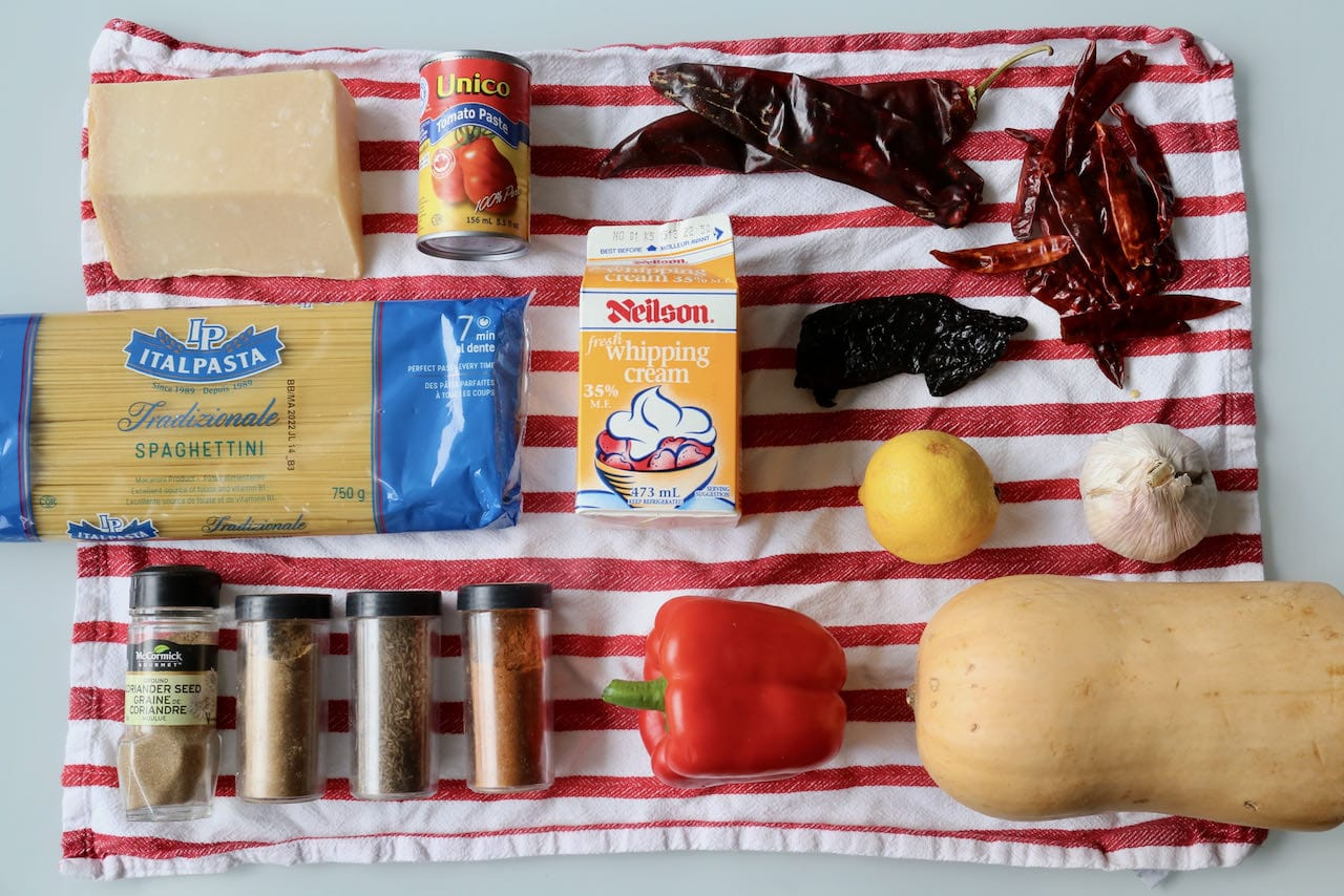 Ingredients you'll need to make our easy Harissa Pasta recipe.