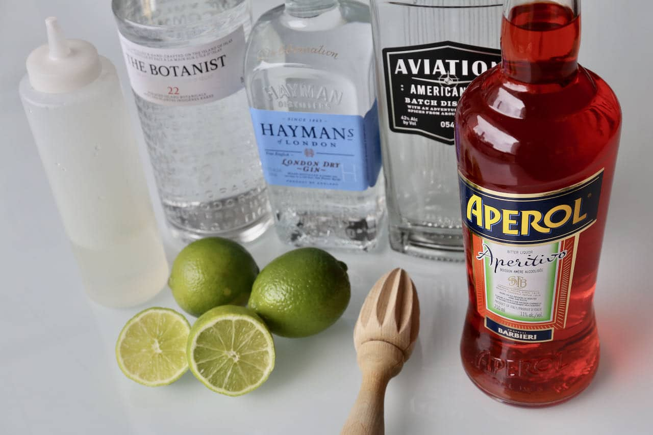 Ingredients you'll need to make our homemade Aperol Gin cocktail recipe.