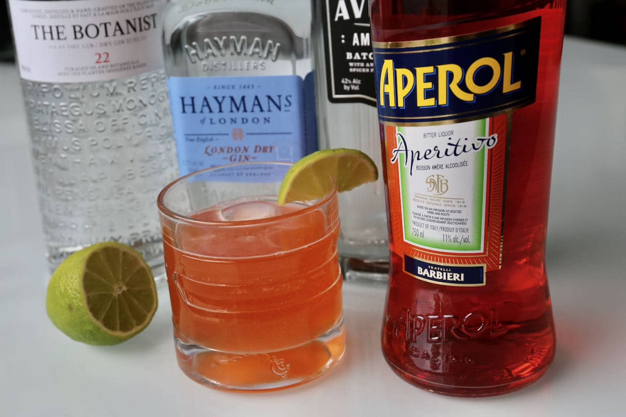 Garnish our easy Aperol Gin cocktail with a slice or wedge of lime.