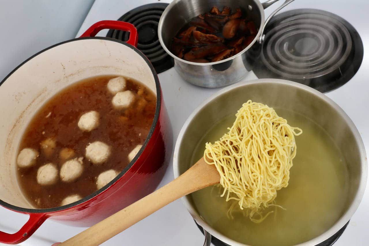 Boil Chinese egg noodles moments before you're ready to serve Bak Chor Mee.