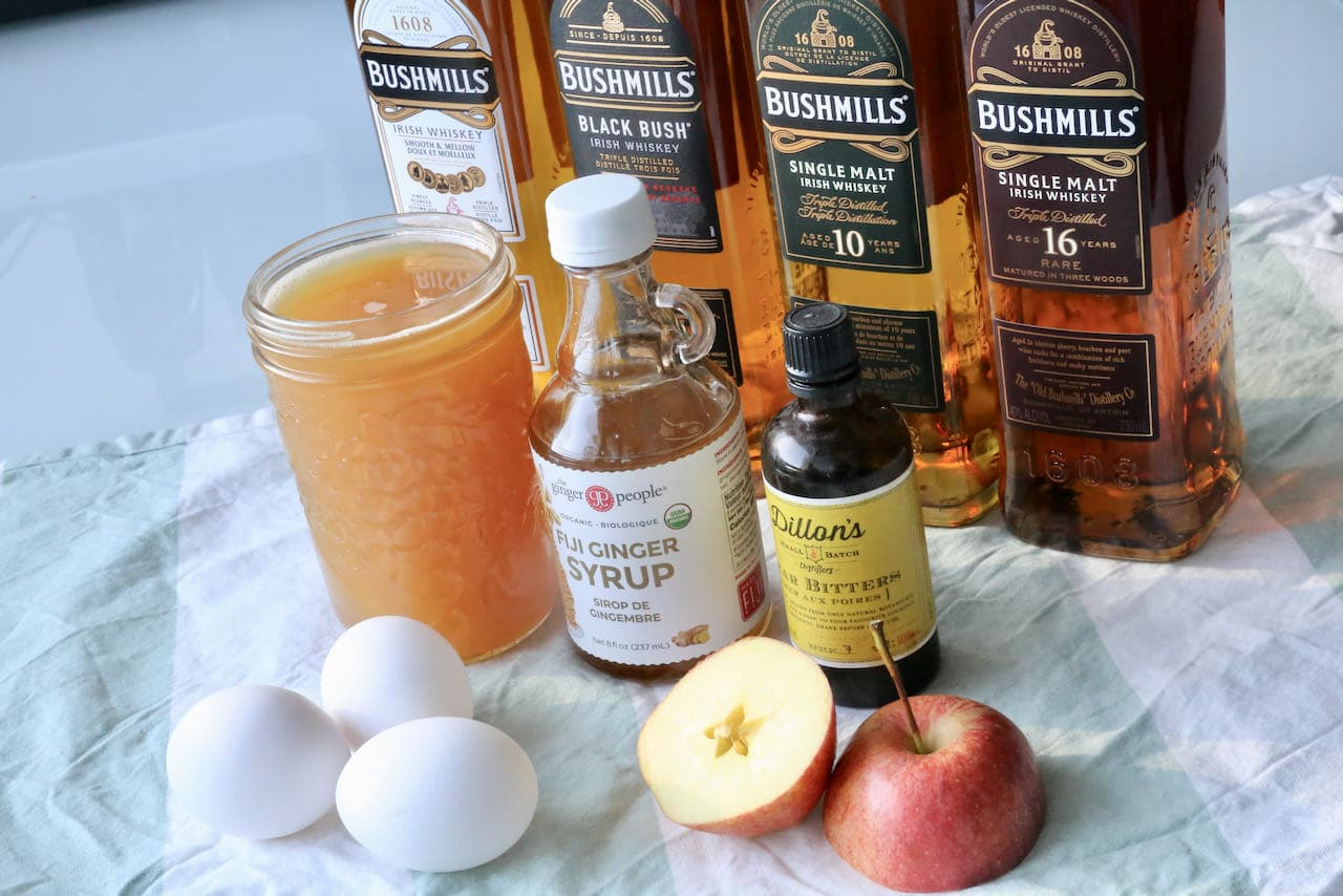 Bushmills Cocktail Ingredients: Apple juice, ginger syrup, pear bitters, egg and Irish Whiskey.