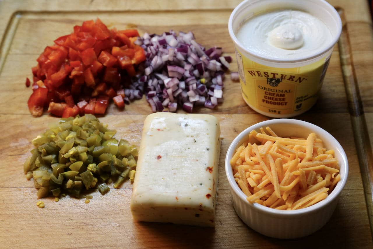 Antojito recipe filling: red pepper, pickled jalapeno, red onions, cream cheese, cheddar and havarti.