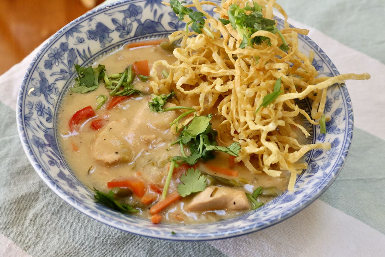 Serve homemade Chicken Manchow Soup at a Indian or Chinese dinner party for a crowd.