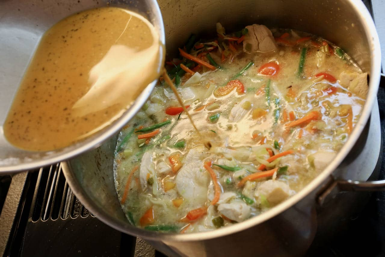 Our easy Chicken Manchow Soup recipe is flavoured with chicken broth, vinegar, black pepper and soy sauce.