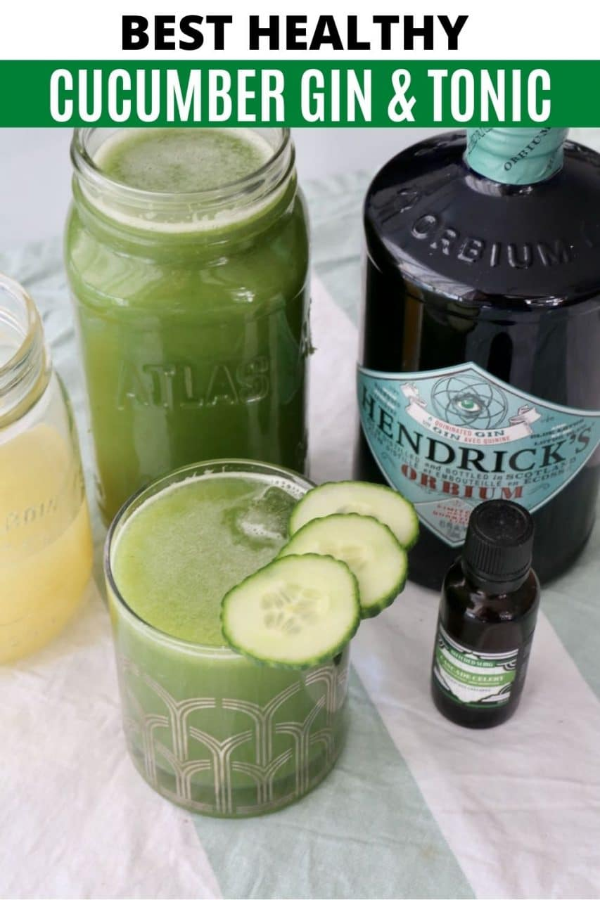 Save our Healthy Cucumber Gin and Tonic recipe to Pinterest!