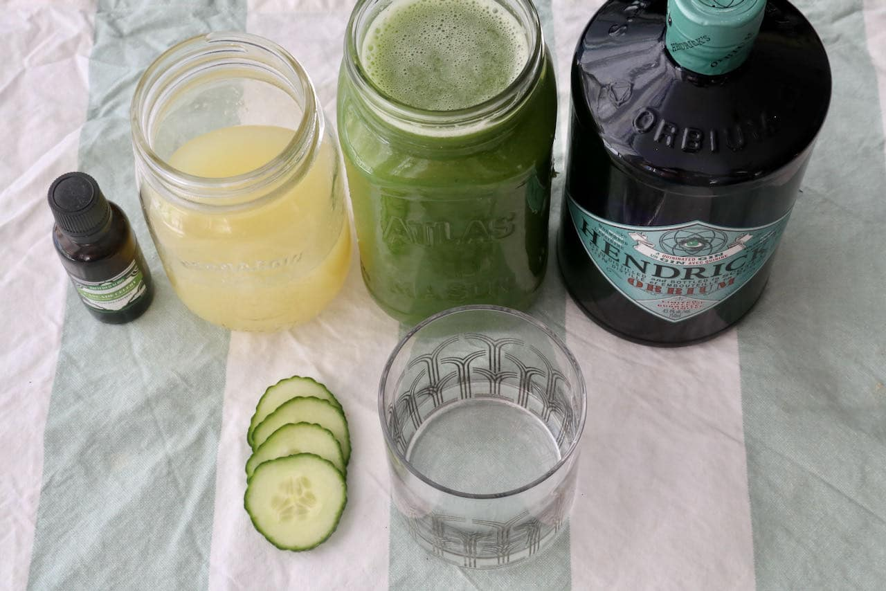 Serve our healthy Cucumber Gin and Tonic cocktail in a rocks or coup glass.