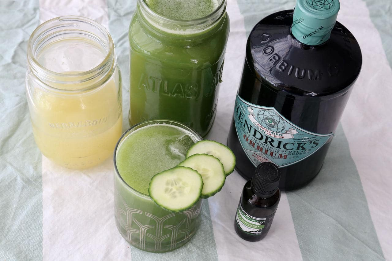 Garnish our easy homemade Gin Cucumber Drink with thinly slice cucumber slices.