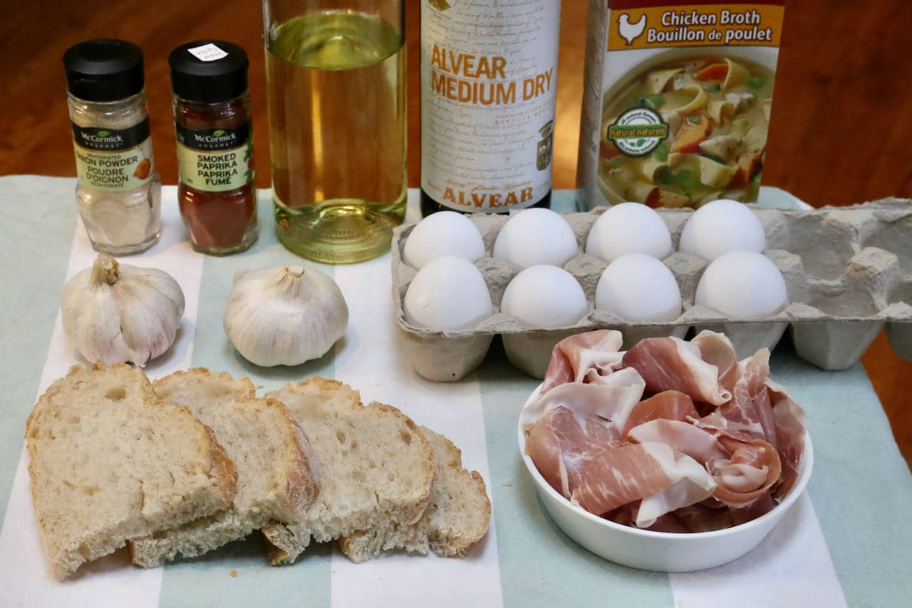 Ingredients you'll need to make our easy homemade Spanish Soup recipe.