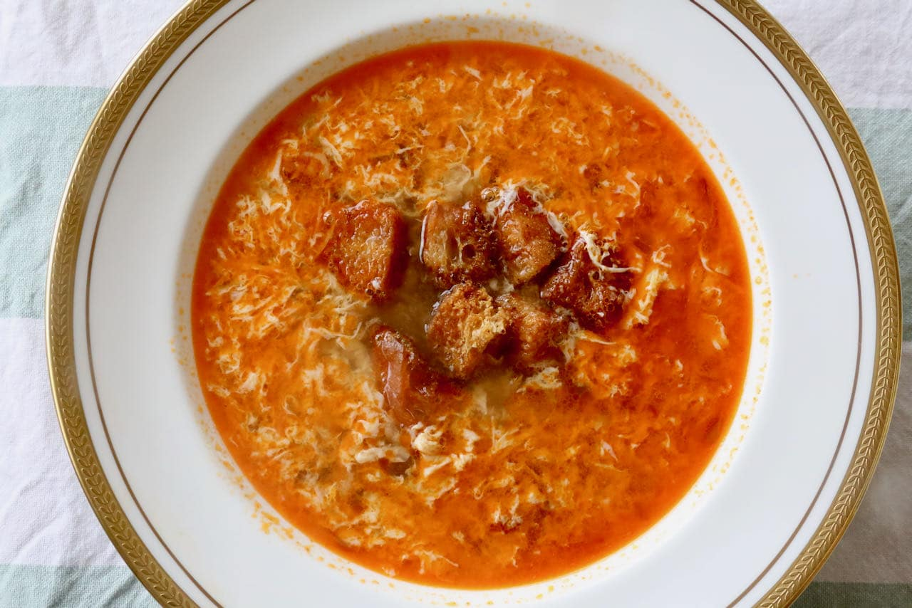 We love serving garlicky Sopa de Ajo at Spanish-themed dinner parties for a crowd.