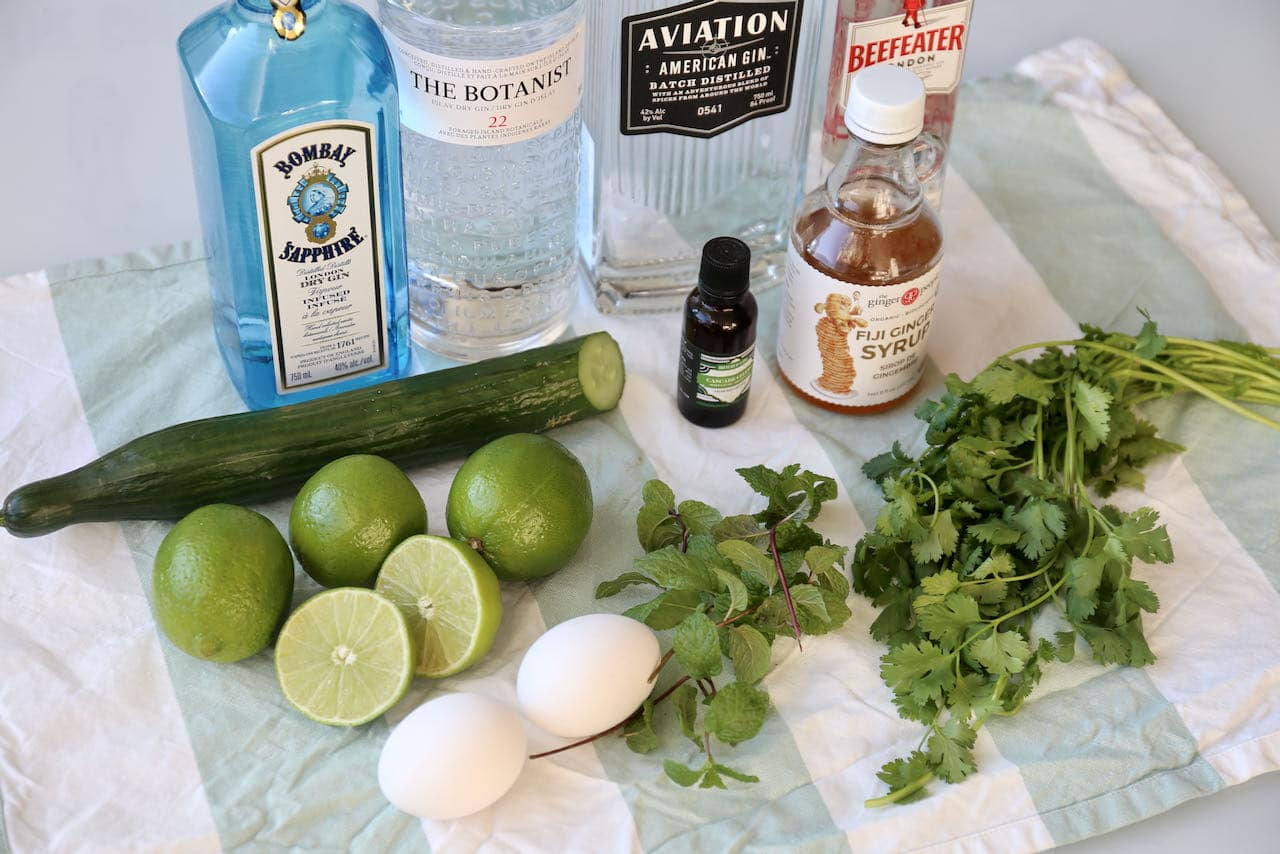 Easy homemade Cilantro Cocktail ingredients.