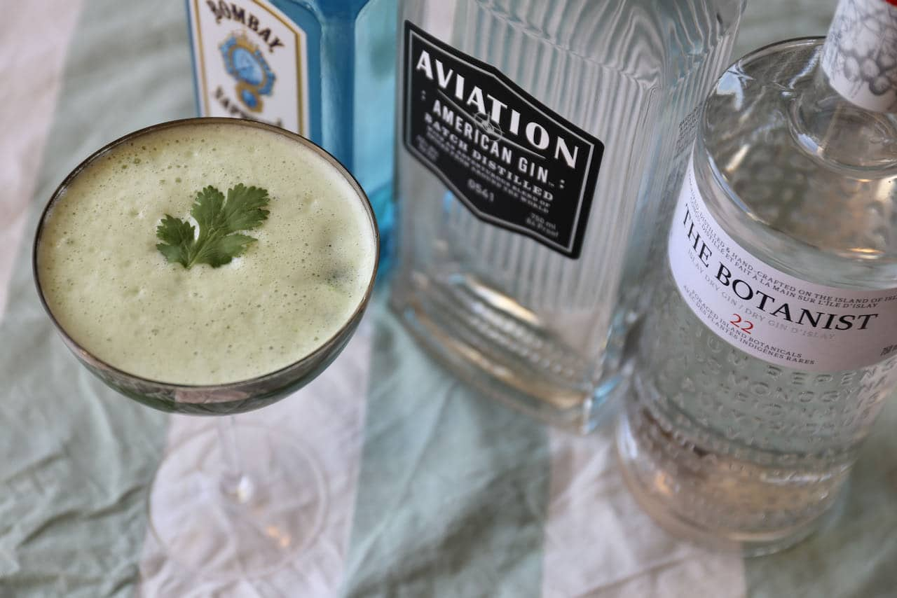 Serve our Cilantro Juice Gin Cocktail in a rocks or coup glass.