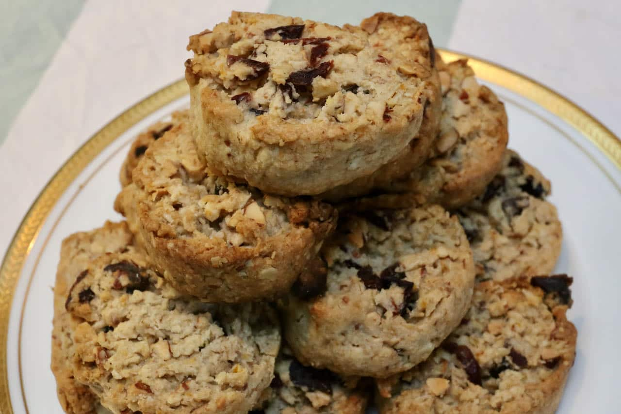 Serve Healthy Oatmeal Cranberry Cookies with tea or coffee.