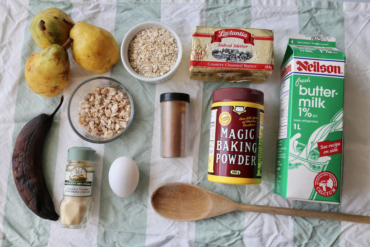 Ingredients you'll need to make our homemade Banana Pear Muffins recipe.