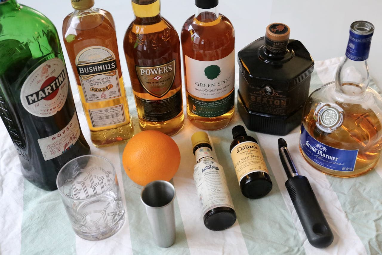 Ingredients you'll need to make our Irish Whiskey Old Fashioned recipe.