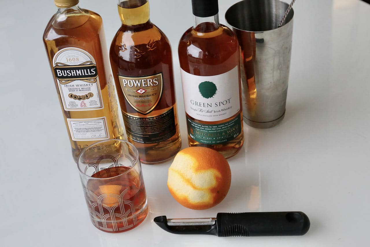 Prepare our Irish Old Fashioned cocktail recipe with Bushmills, Powers or Green Spot.
