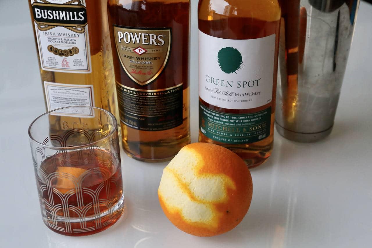 Garnish your Irish Old Fashioned with fresh orange peel.
