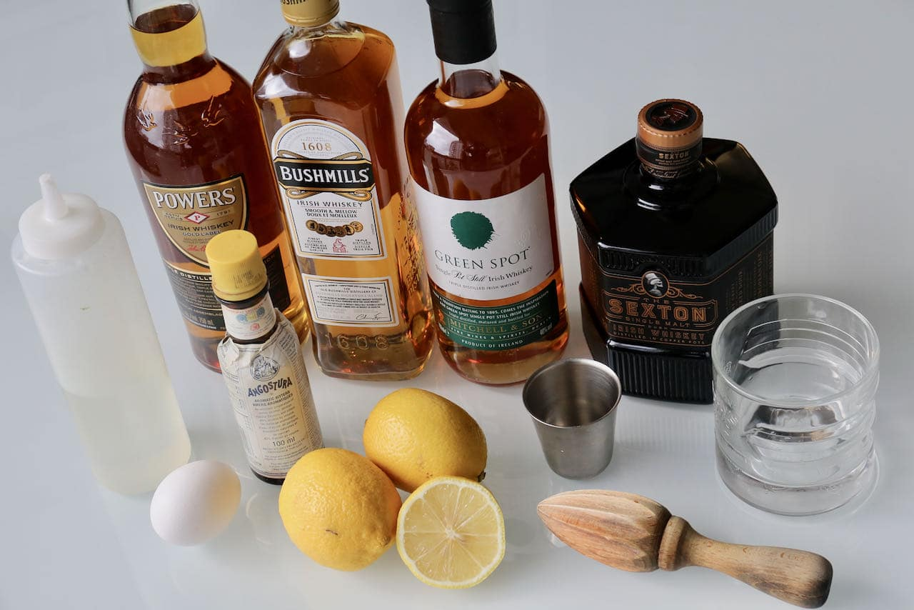 Ingredients you'll need to make our Irish Whiskey Sour recipe.