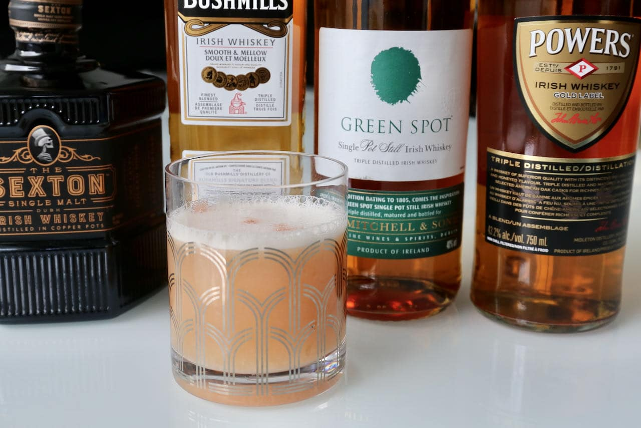 We love serving Irish Whiskey Sour cocktails at Thanksgiving, Christmas and St. Patrick's Day.