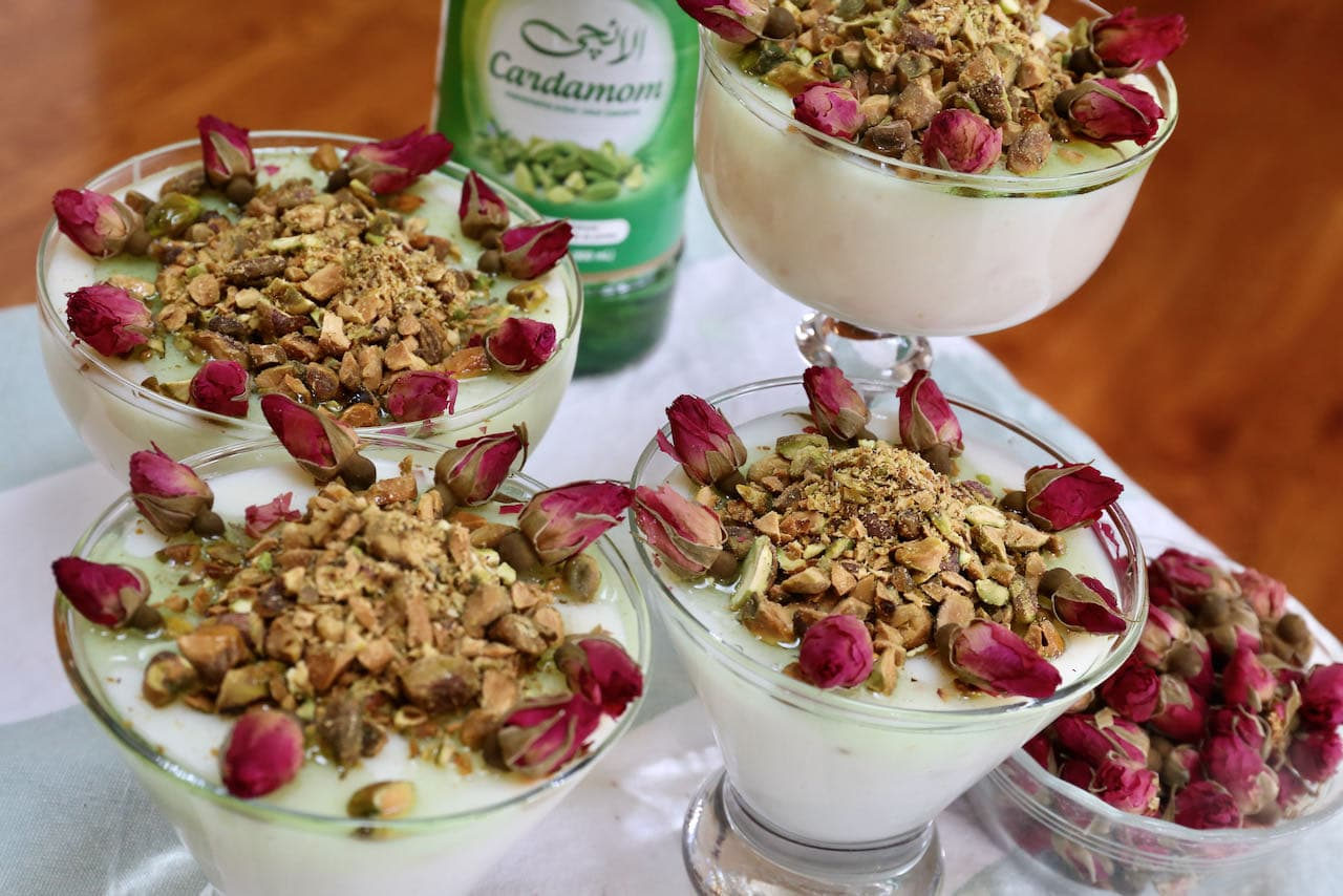 Mahalabia is the perfect Middle Eastern dessert for those who love the fragrant perfume of fresh roses.