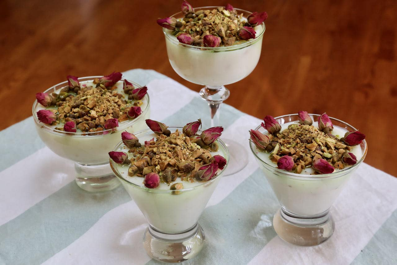 Mahalabia is a popular dessert throughout the Middle East often served at weddings.