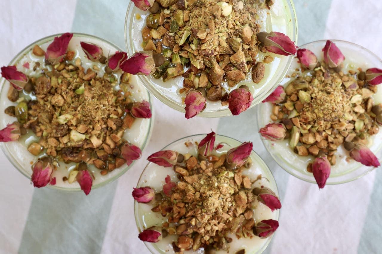 Mahalabia Middle Eastern Rose Pistachio Milk Pudding Recipe
