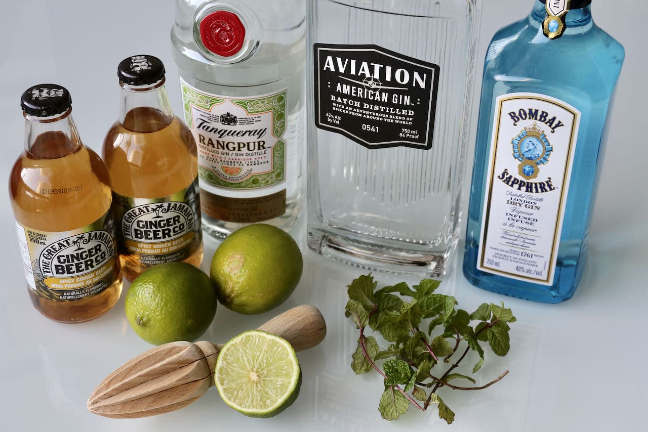 Ingredients you'll need to make our Gin Moscow Mule drink recipe.